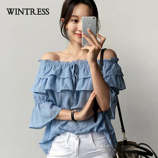 f93f1cfc0 WINTRESS Verão Coreano Chic Mulheres Chiffon Blusa Vazamento Ombro Babados  Em Camadas Design Pure Color Meia