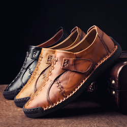 Luxury Brand Men Shoes Casual Leather Loafers Fashion Trendy Black Blue Brown Flat Shoes for Men Drop Shipping Moccasins