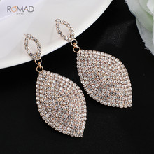 Romad Classical Large Drop Earrings For Women Teardrop Shape Crystal Rhinestone Dangle Wedding Earring Bride Jewelry W3
