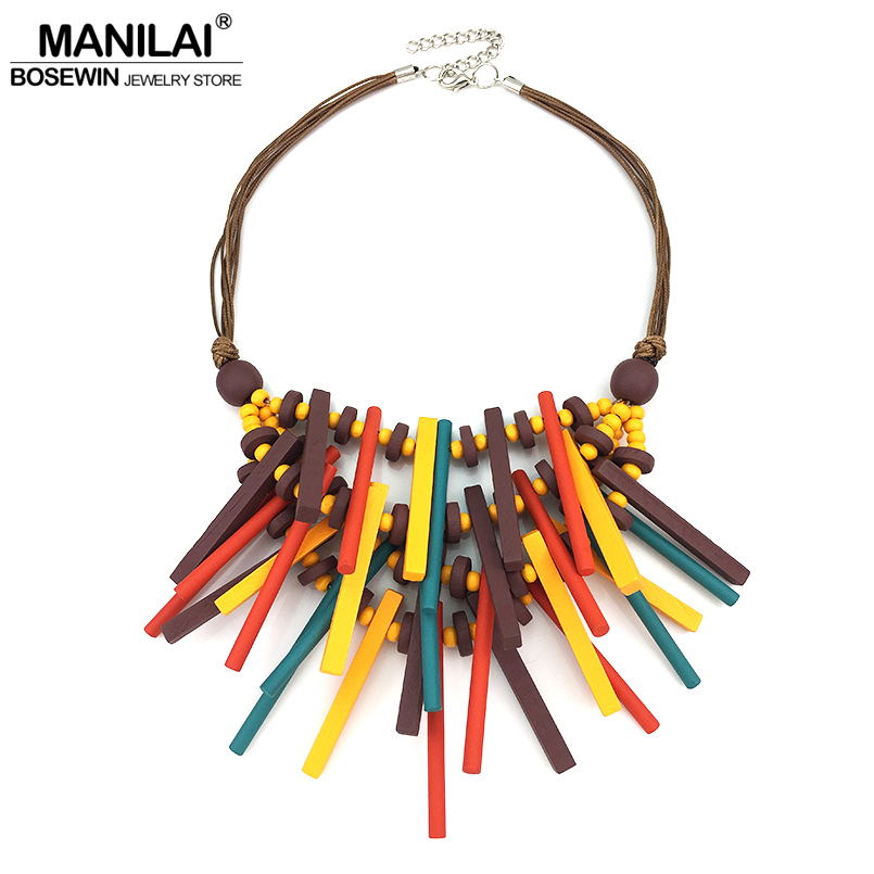 MANILAI 2018 New Design Bohemian Handmade Wood Statement Necklace For Women Fashion Jewelry Collar Choker Necklace Big Wooden все цены