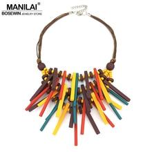 Necklace Pendants Collar Choker Fashion Jewelry Boho Wood-Statement Handmade Bohemian