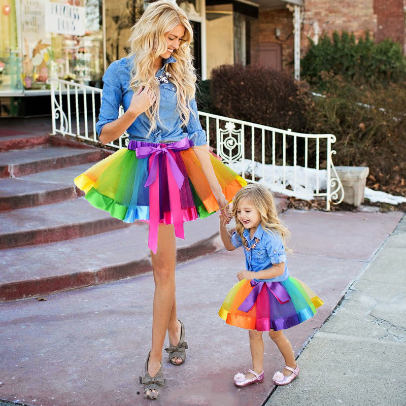 2018 New Fashion Kids Mother And Daughter Summer Rainbow High Waist Tutu Skirt Party Matching Outfits