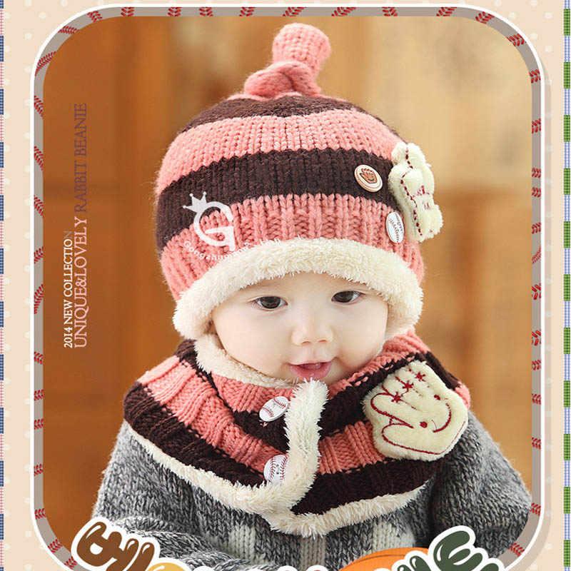 Doitbest/вязаные меховые шапки в полоску с пятиконечной звездой для мальчиков от 1 до 4 лет, зимний однотонный комплект из 2 предметов, шарф для девочки