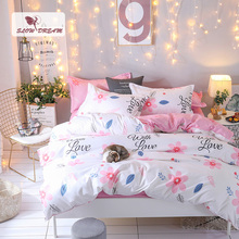 SlowDream Bedding Set Pink Flowers Bedspread Double Queen Single Students Bedding Linen Set Duvet Cover Lovely For Adult Size