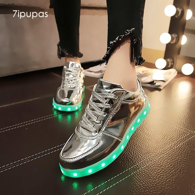 7 ipupas Сияющий световой женская обувь со светодиодами Для мальчиков и девочек с легкой подошвой Малыш загораются кроссовки со светодиодной подсветкой унисекс USB зарядка серебряные светящиеся кроссовки