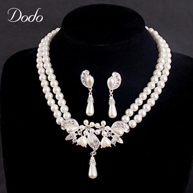 Роскошные имитация жемчужное ожерелье серьги Люкс Для Невесты Африканская свадьба комплект ювелирных изделий старинные элегантный капли воды аксессуары D9