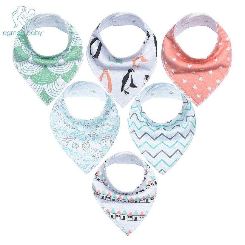 6Pcs Baby Bandana Drool Bibs Super Absorbent 100% Organic Cotton Bibs For Drooling Teething & Feeding Unisex Bibs For Newborns