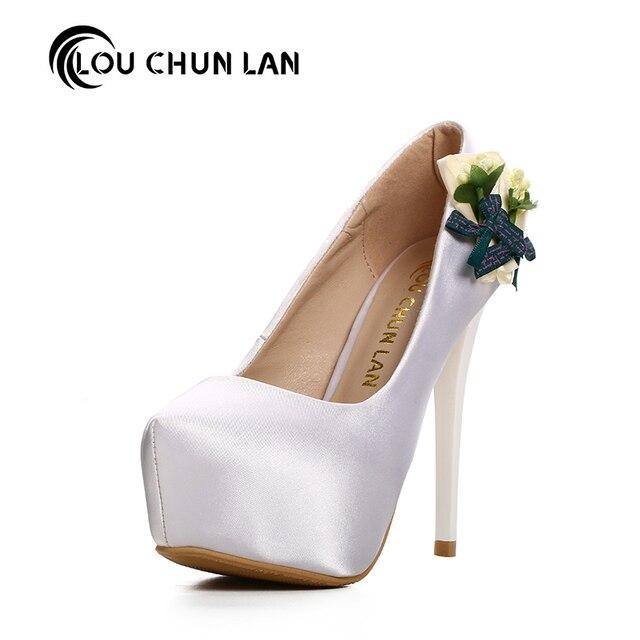 Frauen Pumpt Schuhe Elegante Schwarze Blume Brautschuhe High Heels