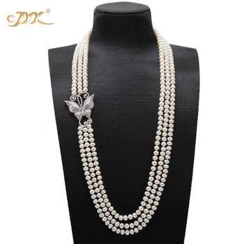 "JYX Mode Drei-strang halsketten Triple Strang Halskette AAA + Qualität 7,5-8mm Süßwasser Zucht Perle Oper halskette 32"""