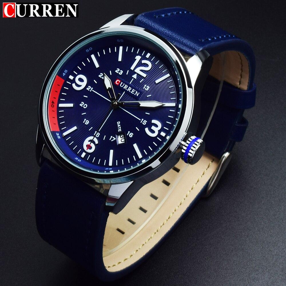Prix pour 2017 Curren Horloge Hommes Montre De Luxe Marque Quartz Bleu Montres Hommes Analogique En Cuir Date Mâle Sport Mens Montre-Bracelet Horloges Mannen
