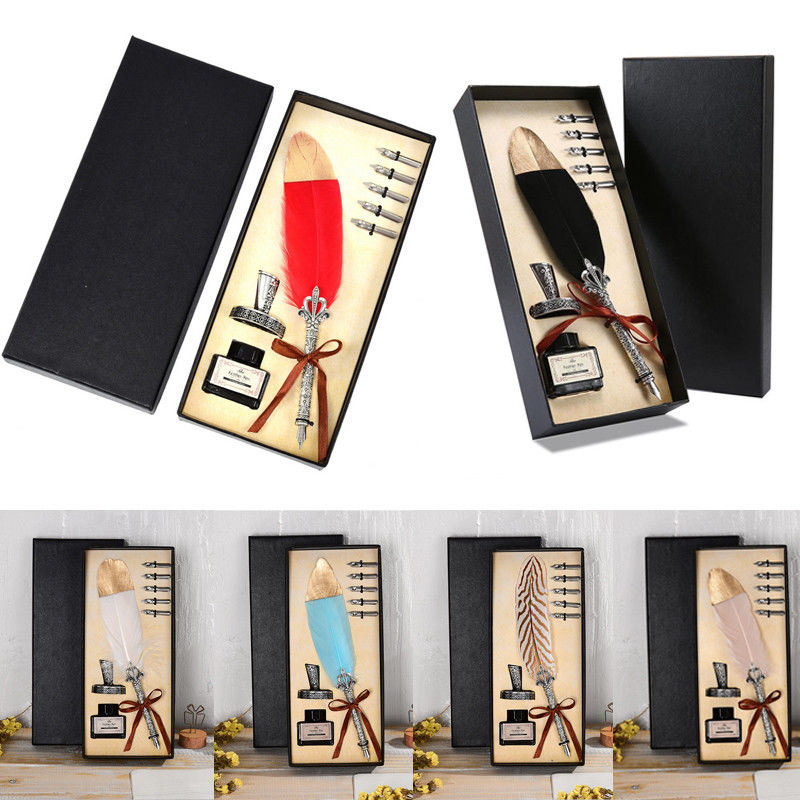Vintage Feather Quill Dip Pen Fountain Pens with Ink 5 Nibs Set Stationery Gift