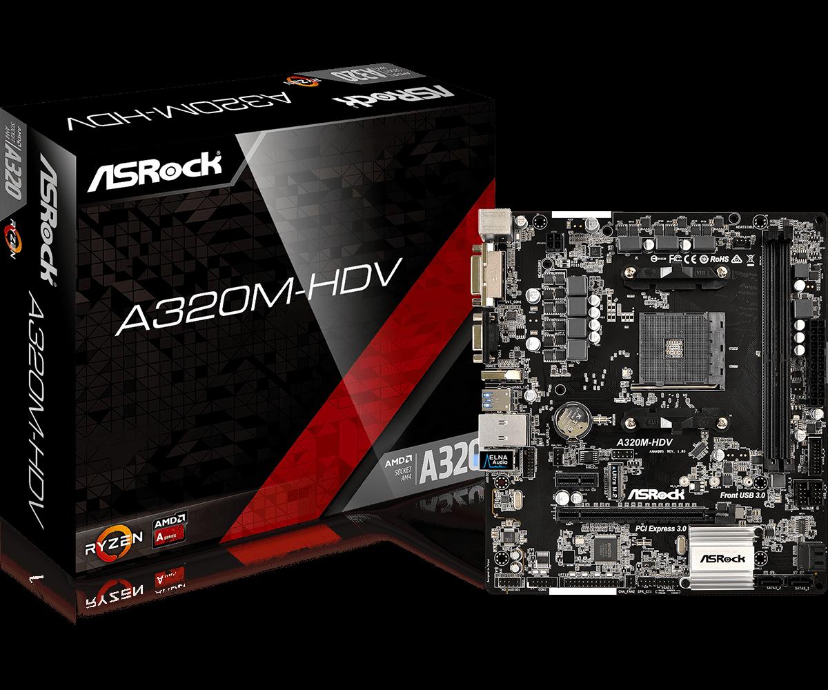 Full new ASROCK AMD A320 Chipset AM4 Interface A320M HDV