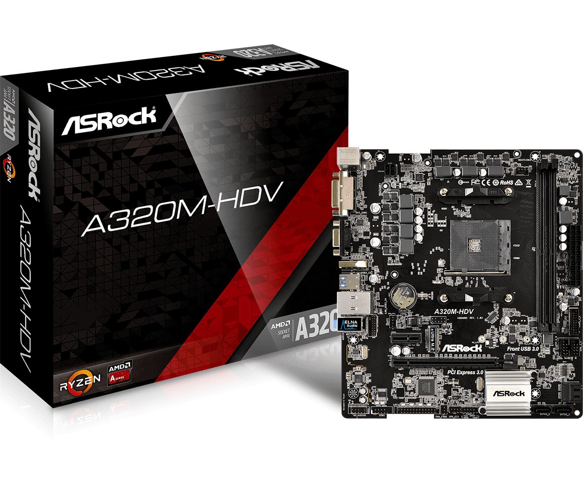 Full New ASROCK AMD A320 Chipset AM4 Interface A320M-HDV Desktop PC Motherboard Micro-ATX