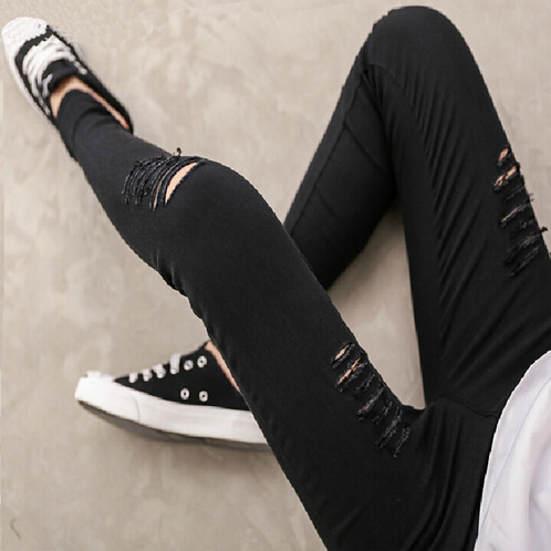 f7f80165825d5 2016 lady Ripped Hole pant plus size XXL skinny pencil pants spring summer  sexy slim fitted leggings cotton blend fashion capris