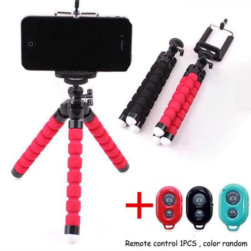 Flexible Cell Phone Tripod With Bluetooth Remote Control Mini Tripod for Any SmartPhone Light Monopod with Phone Clip