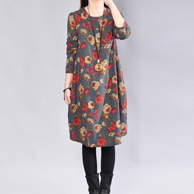 P Ammy Cotton   Linen Plus Size Retro Floral Print Mid-Long Dress lagenlook  voguees Trend long shirts linen tunics 20055ff54ba5