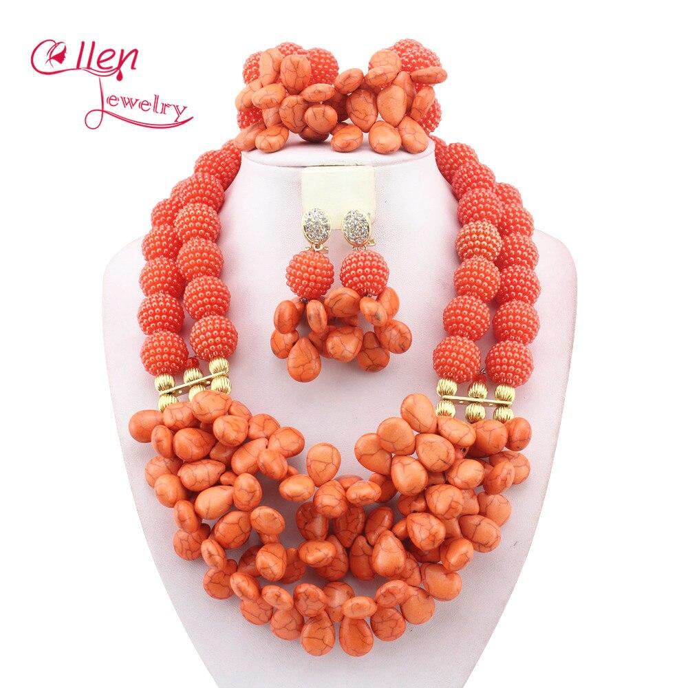 Mariage nigérian Perles Africaines Se Sont Précipités Classique Femmes Bijoux Ensembles Nouveau Arrivé Nigeria Ensemble Collier Afrique Perles W10969