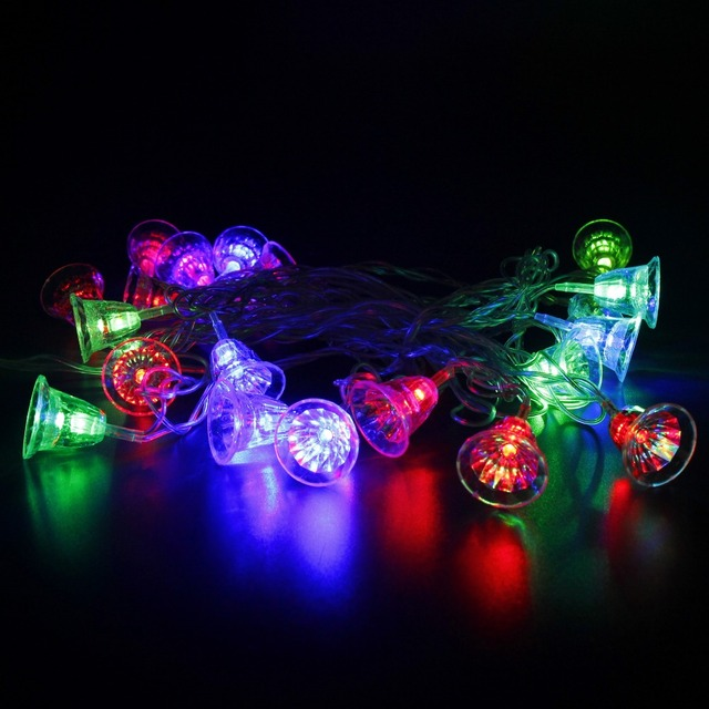 3w christmas bell string light 20pcs led bulbs ac110v220v input for colorful christmas tree