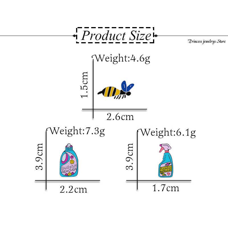 Shshd Kreatif Biru Insektisida Bros Omong Kosong Remover Anti Lucu Nyamuk Enamel Cleaning Lencana Jaket Kerah Pin
