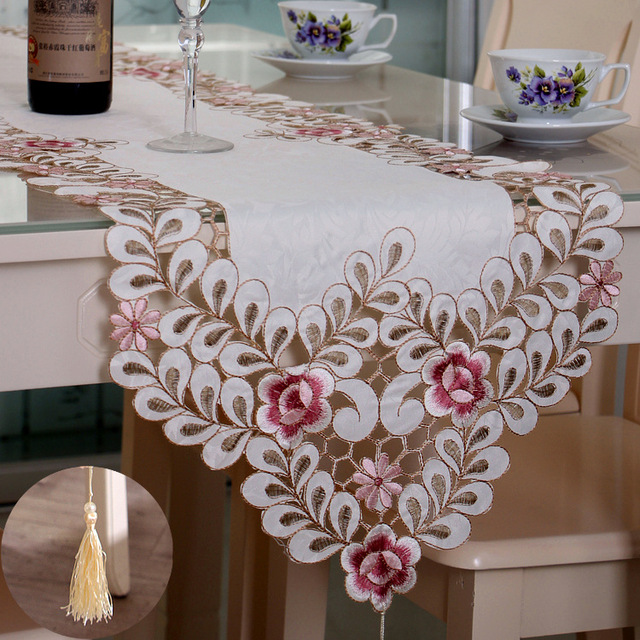 Multiple Sizes Fashion Elegant Table Runner Embroidered Tea Ceremony  Minimalist Pastoral Coffee Table Cloth Table Runners