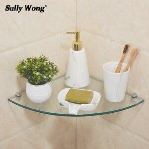 Салли дом ванная комната угловая 8 мм толщина закаленное стекло полка, ванная треугольник стеклянные полки, шампунь для мытья тела душевая к...