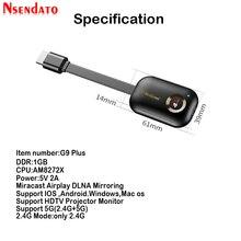 Mirascreen G9 زائد 2.4G/5G 4K Miracast اللاسلكية DLNA البث HDMI جهاز استقبال للتليفزيون جهاز دونجل للعرض مزود بخاصية Wifi استقبال ل IOS الروبوت ويندوز