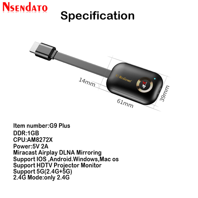 Mirascreen G9 Plus 2.4G/5G 4K Miracast Draadloze Dlna Airplay Hdmi Tv Stick Wifi Display Dongle ontvanger Voor Ios Android Windows