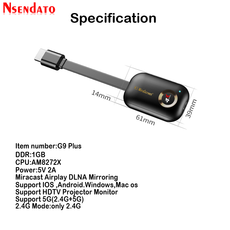 Mirascreen G9 Plus 2.4G/5G 4K Miracast Wireless DLNA AirPlay HDMI TV Stick Wifi Display Dongle Receiver For IOS Android Windows