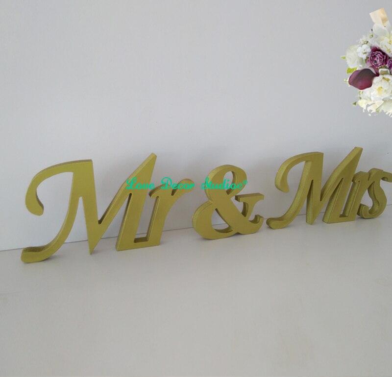 Золото Г-Н & Г-Жа Буквы знак Свадьба Украшение Стола Отдельно Стоящие Mr & Mrs Знак