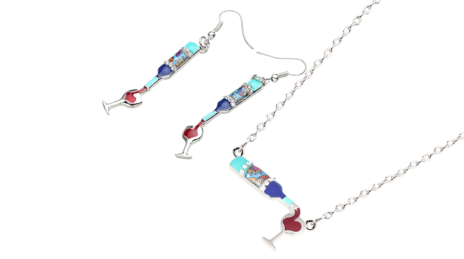 Bonsny Enamel Alloy Red Wine Bottle Cup Earrings Drop Dangle Necklace Pendant Jewelry Sets Vintage Bijoux Women Girl Accessories