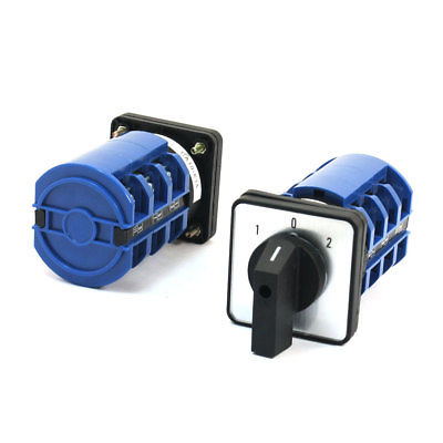 2 Pcs CA10-63 660V 63A 12 Screw Terminal 3 Phase Rotary Cam Changeover Switch 660v 25a on off on 3 phase 12 terminal rotary cam changeover combination switch