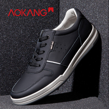 AOKANG 2019 Spring Casual Shoes Breathable Comfortable Sneakers Genuine Leather Shoes men Lace Up Men Shoes Zapatillas Hombre