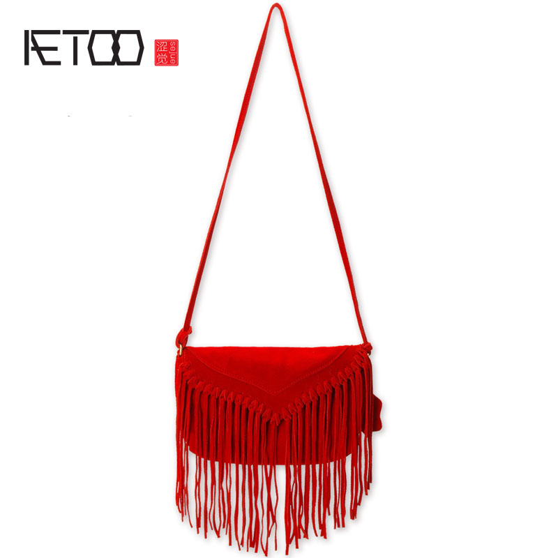 AETOO The new tassel bag cowboy ladies shoulder bag diagonal package classic round packet crazy for the cowboy
