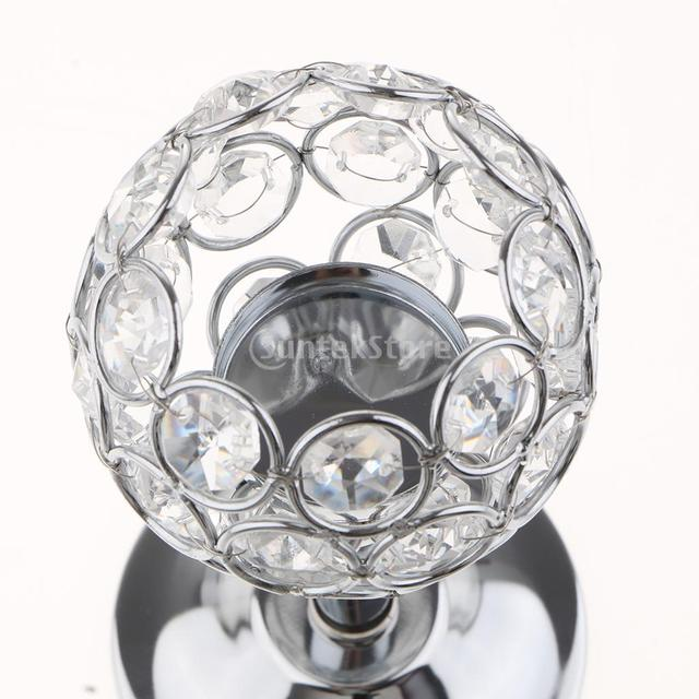 Crystal Metal Candle Holder Candlestick Wedding Holidays Christmas Events Tabletop Home Decor Ornament Tealight Candle Holders 3