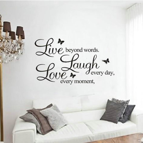 Superb Removable Butterfly Wall Sticker Quotes LIVE LAUGH LOVE Letters Wall  Stickers Decor Art Vinyl Decal For Living Room Bedroom In Wall Stickers  From Home ...