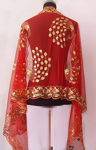 Hot SELL Gorgeous Paillette Women's Silk Sequin peafowl Shawl/  Scarf     Wrap   Red