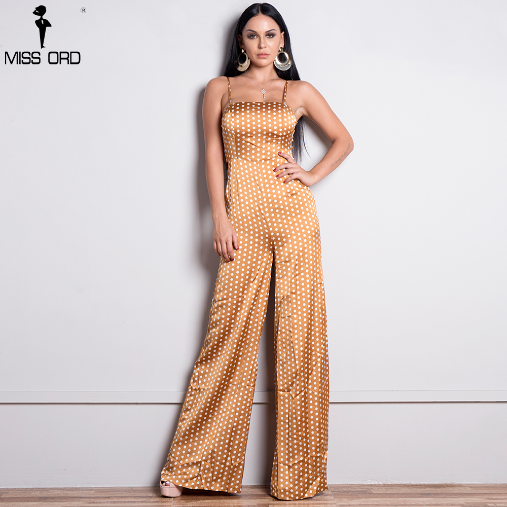 Missord 2019 Sexy Spring And Summer sexy sleeveless straps backless tie dot Jumpsuit FT8833-1