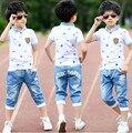 2016 летние мальчики одежда спортивный костюм комплект мода свободного покроя с короткими рукавами о-образным вырезом детская одежда установить 2 шт. футболку + джинсы