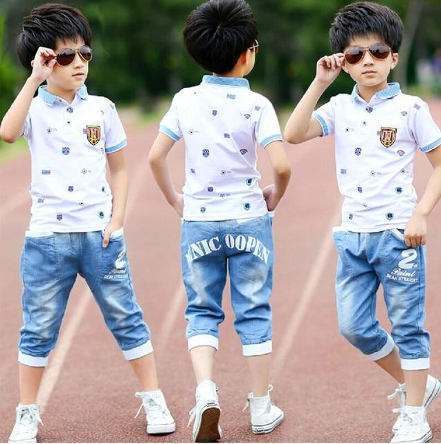 2016 summer boys clothes sport suit set fashion casual short sleeve O-neck children's clothing set 2 pieces T-Shirt + jeans