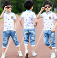 2016 verão meninos roupas esporte terno ajustado moda casual manga curta O pescoço roupas de criança set 2 peças t-shirt + jeans