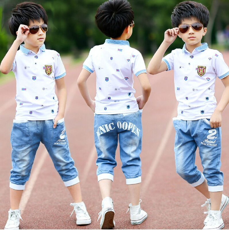 2018 summer boys clothes sport suit set fashion casual short sleeve O-neck children's clothing set 2 pieces T-Shirt + jeans round neck color block spliced splash ink print short sleeve men s sport suit t shirt shorts