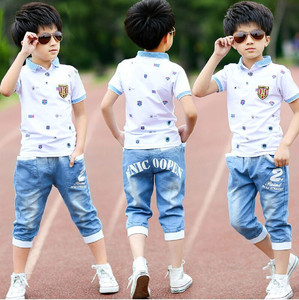 Image 1 - 2018 summer boys clothes sport suit set fashion casual short sleeve O neck childrens clothing set 2 pieces T Shirt + jeans