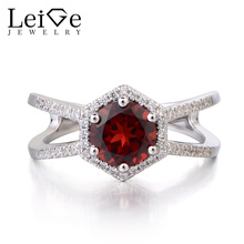 Leige Jewelry Natural Garnet Ring Anniversary Rings Round Cut 925 Sterling Silver January Birthstone Red Gemstone Gift for Women