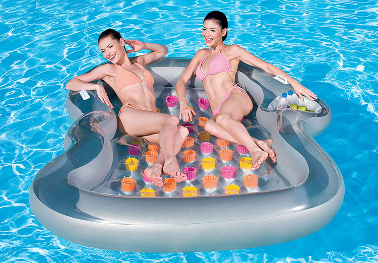 KEANGEL  2017 Latest High Quality Brand New Double Floating Row Inflatable Floating Bed Floating Bed Beach Mat Water Cushion funny summer inflatable water games inflatable bounce water slide with stairs and blowers