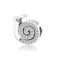 100 925 Sterling Silver Snails Beads Fits Original Pandora Charm Bracelet Pendant Silver Charms Jewelry DIY