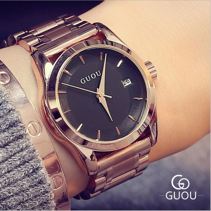 GUOU Watch Luxury Rose Gold Ladies Watch Auto Date Women's Watches Full Steel Quartz Watch Clock saat reloj mujer relogio guou watches women fashion leather auto date women s watch multi runtioan luxury ladies clock saat relogio feminino reloj mujer