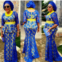 Plus Szie African Royal Blue Evening Dresses 2017 Long Mermaid Nigerian Women Plus Size Formal Gowns Half Sleeves Big Dress