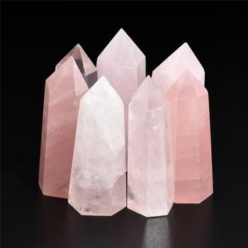 100% Natural Stone Fluorite Crystal Pink Fluorite Quartz Crystal Stone Point Healing Hexagonal Wand Treatment Stone 50-60mm