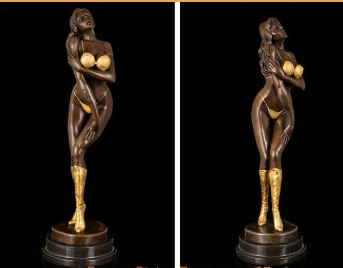 Art Deco Sculpture Sexy Beautiful Naked Woman Bronze Statue