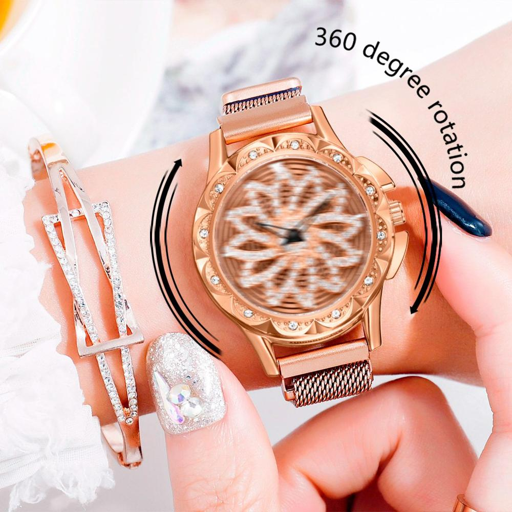 360 Rotate Women Magnet Watches  Lucky Flower Watch Luxury Ladies Rhinestone Quartz Relogio Feminino